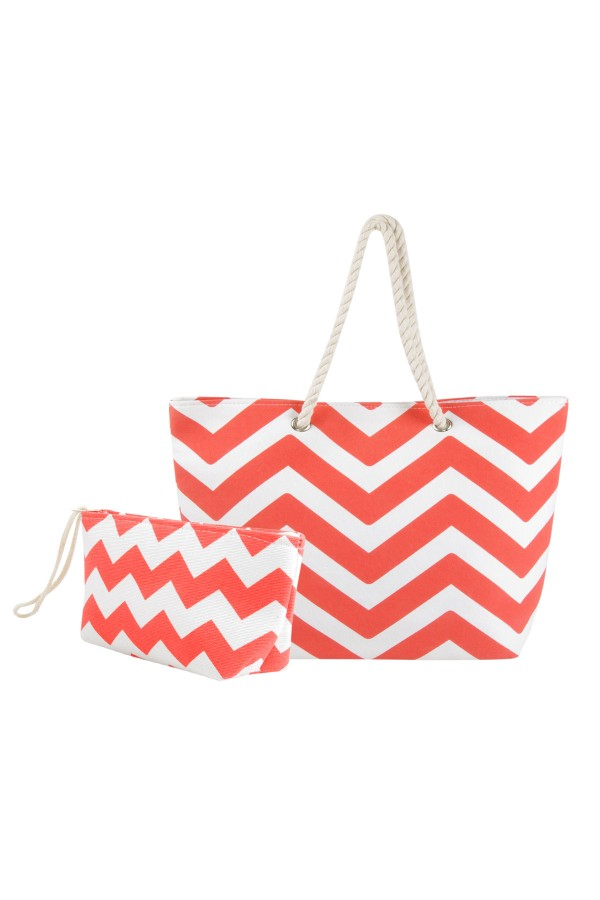 Chevron Canvas Tote Bag with Pouch - Coral