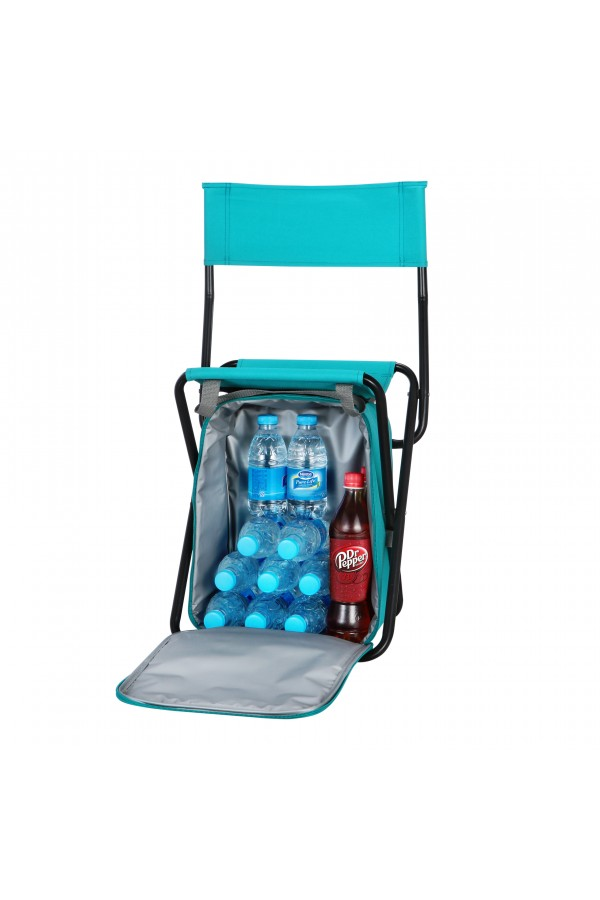 Backrest Stool with Cooler Bag - Blue