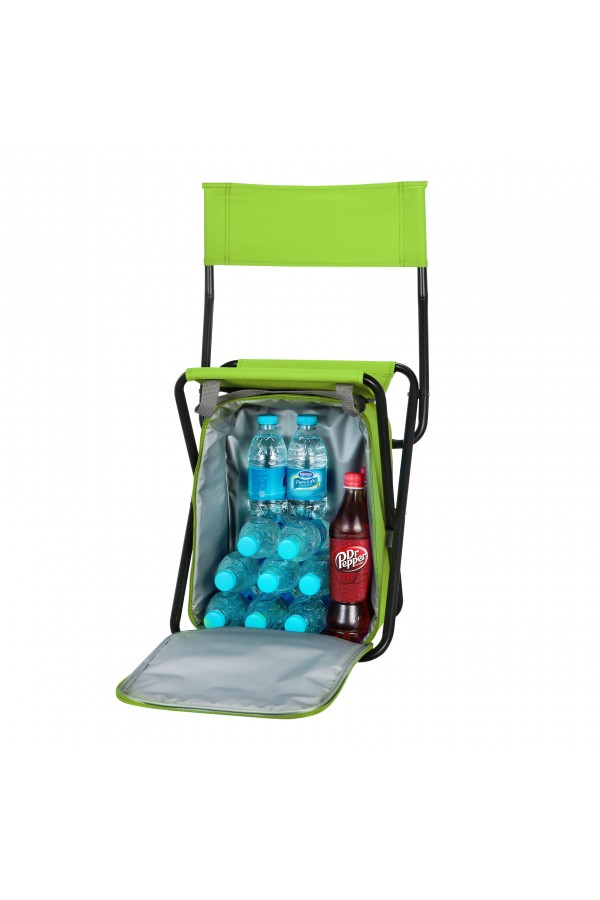 Backrest Stool with Cooler Bag - Green