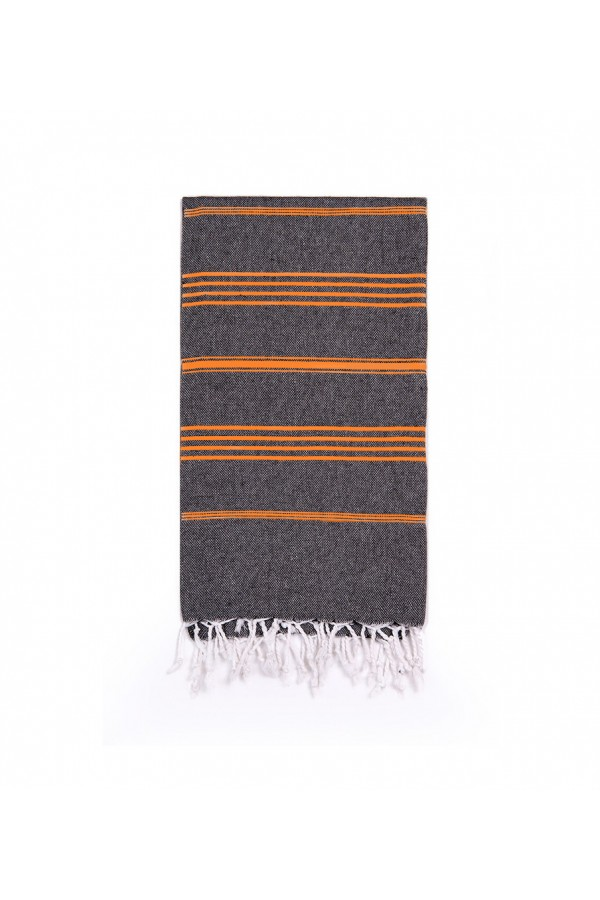 Peshtemal Turkish Towel Beach Cover-Up - Black - Orange