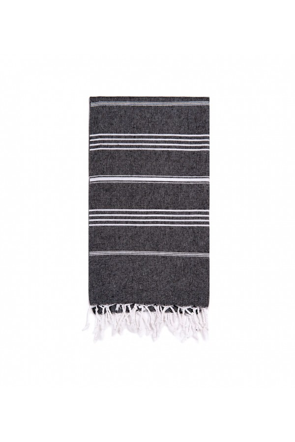 Peshtemal Turkish Towel Beach Cover-Up - Black - White