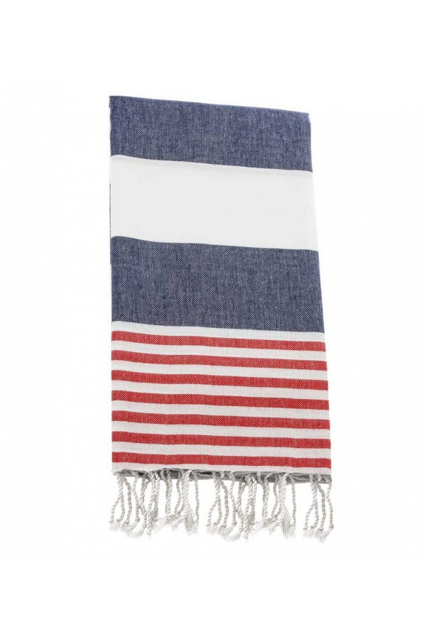 Peshtemal towel cover-up,  - Navy  Blue - Red