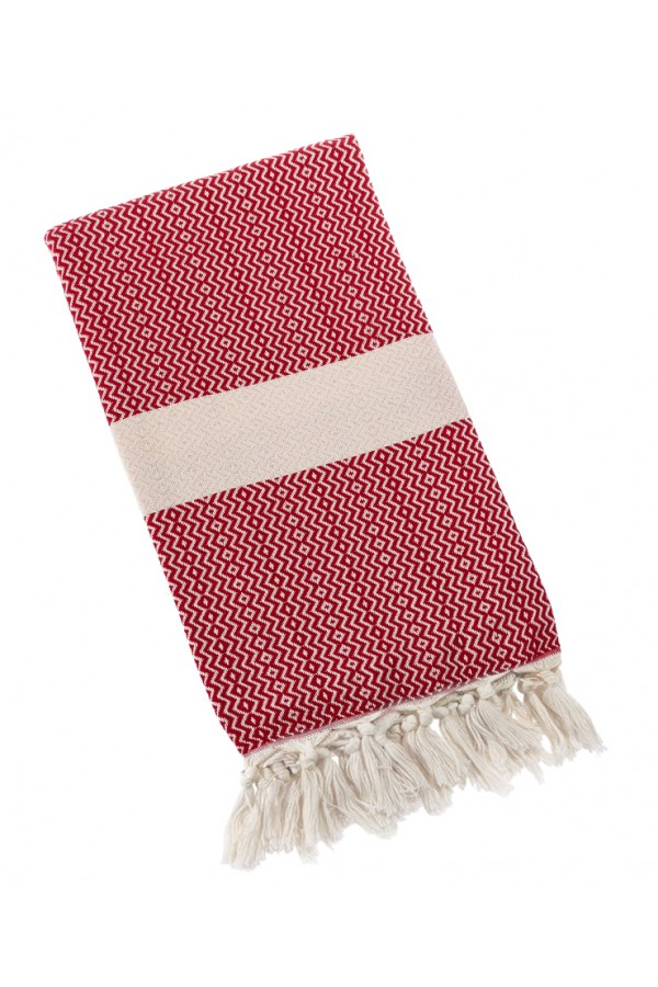 Eshma Mardini Turkish Towel Peshtemal for Beach Spa Bath Pool Sauna Yoga Pilates Fitness - Red