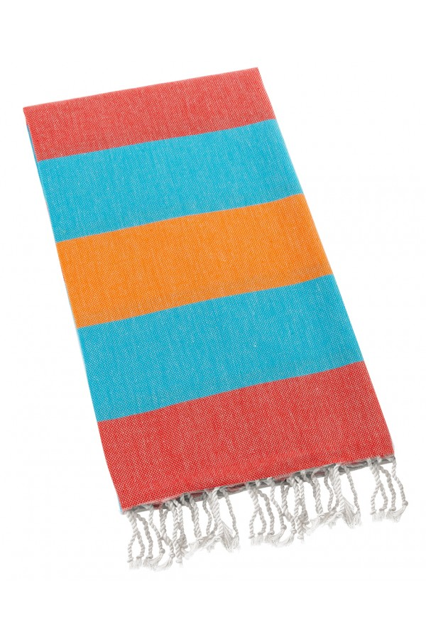 Eshma Mardini Turkish Cotton Peshtemal for Beach Shower Bath - Orange - Blue - Red