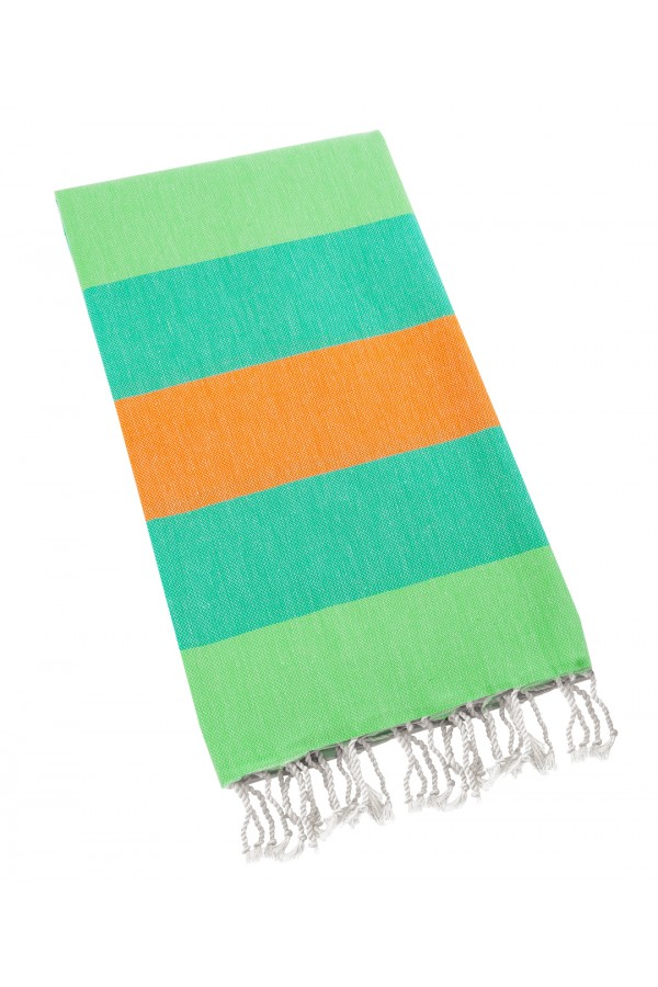 Eshma Mardini Turkish Cotton Peshtemal for Beach Shower Bath - Orange - Green - Turquoise