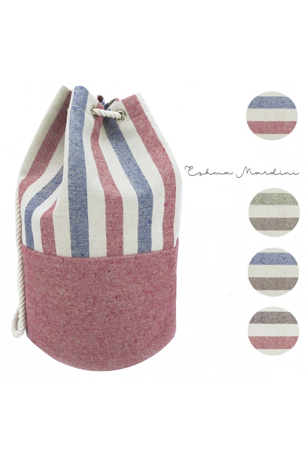 Striped Canvas Bucket Bag