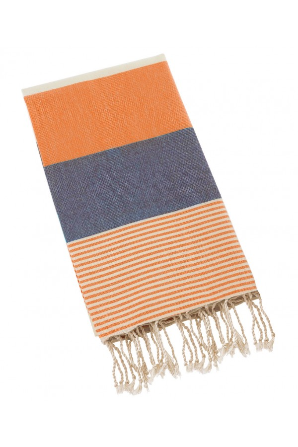 Peshtemal Turkish Towel Beach Cover Up - Orange-Navy Blue