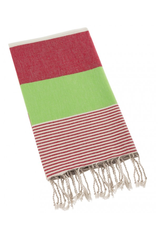 Peshtemal Turkish Towel Beach Cover Up - Red-Green