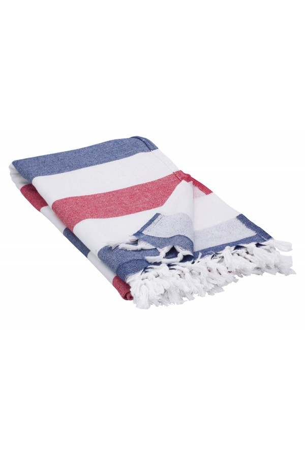 Peshtemal Turkish Towel Beach Cover-Up - Blue - Red