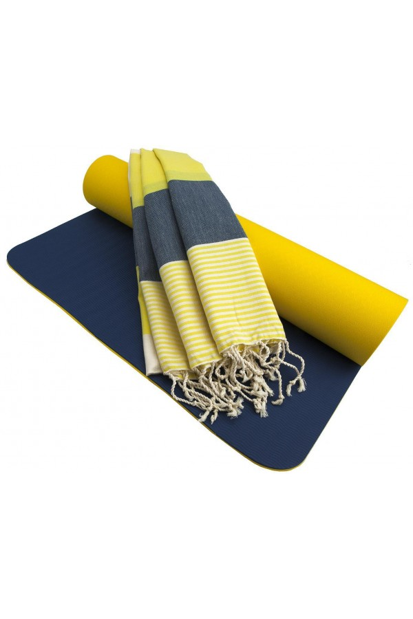 Fitness Yoga Mat - Yellow/Navy Blue + Peshtemal Towel
