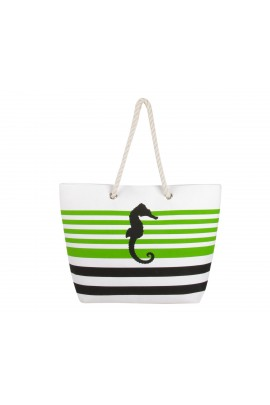 Sea Horse Canvas Tote Bag - Green