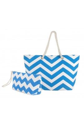 Chevron Canvas Tote Bag with Pouch - Blue