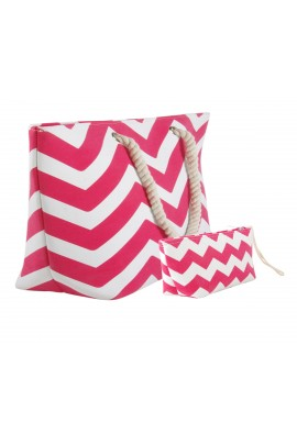 Chevron Canvas Tote Bag with Pouch - Fuchsia