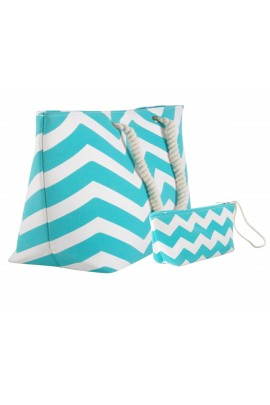Chevron Canvas Tote Bag with Pouch - Light Blue