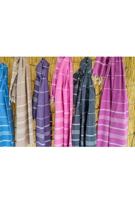Peshtemal Turkish Towel Beach Cover-Up - Blue - Black