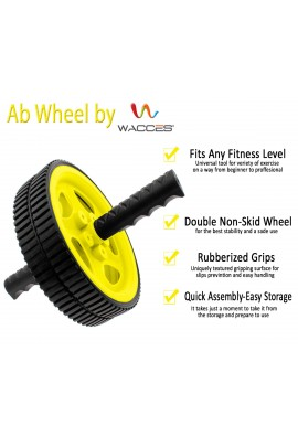 Dual Wheel Abdominal Roller - Yellow