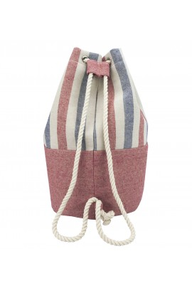 Striped Canvas Bucket Bag - Blue-Red