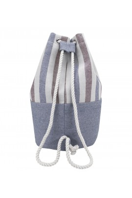 Striped Canvas Bucket Bag - Blue-Brown