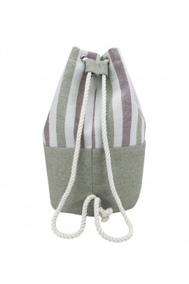 Striped Canvas Bucket Bag - Green-Brown