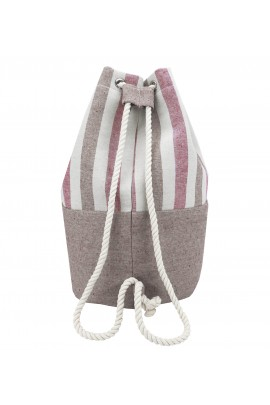 Striped Canvas Bucket Bag - Red-Brown