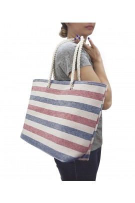 Swan Comfort Striped Canvas Beach Bag - Inside Lining, Inner Pocket, Top Handle - Eco Friendly ( Blue - Red )