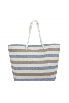 Swan Comfort Striped Canvas Beach Bag - Inside Lining, Inner Pocket, Top Handle - Eco Friendly ( Blue - Brown )