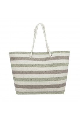 Swan Comfort Striped Canvas Beach Bag - Inside Lining, Inner Pocket, Top Handle - Eco Friendly ( Green - Brown )