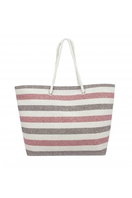 Swan Comfort Striped Canvas Beach Bag - Inside Lining, Inner Pocket, Top Handle - Eco Friendly ( Red - Brown )