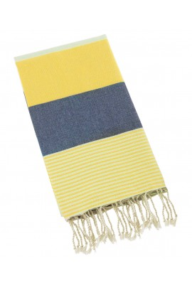 Peshtemal Turkish Towel Beach Cover Up - Navy Blue-Yellow