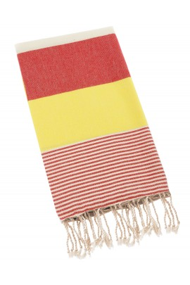 Peshtemal Turkish Towel Beach Cover Up - Red-Yellow