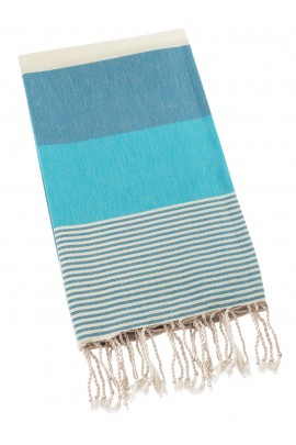 Peshtemal Turkish Towel Beach Cover Up - Blue-Light Blue