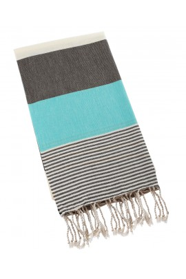 Peshtemal Turkish Towel Beach Cover Up - Blue-Black
