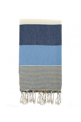 Peshtemal Turkish Towel Beach Cover Up - Blue-Navy Blue