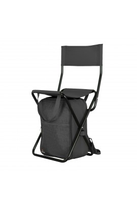 Backrest Stool with Cooler Bag - Black
