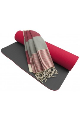 Fitness Yoga Mat - Coral Red/Gray + Peshtemal Towel