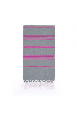 Peshtemal Turkish Towel Beach Cover-Up - Gray - Fuchsia
