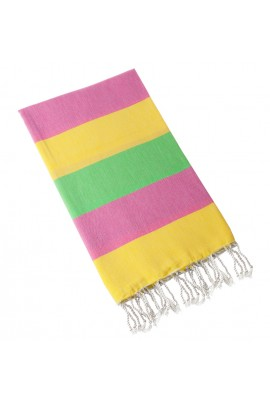 Eshma Mardini Turkish Cotton Peshtemal for Beach Shower Bath - Pink - Yellow - Green