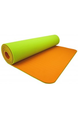 Fitness Yoga Mat - Orange/Green + Peshtemal Towel