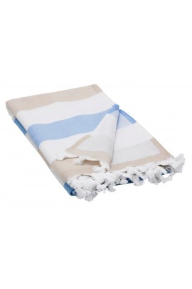 Peshtemal Turkish Towel Beach Cover-Up - Brown - Blue