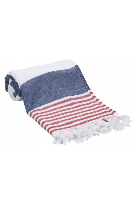 Peshtemal Turkish Towel Beach Cover-Up - Navy Blue - Red