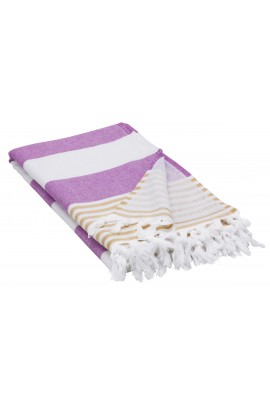 Peshtemal Turkish Towel Beach Cover-Up - Purple - Yellow
