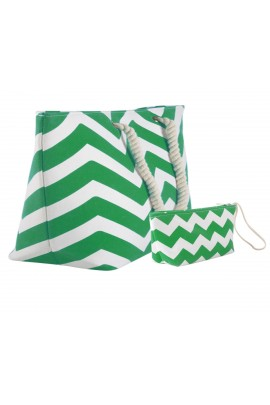 Chevron Canvas Tote Bag with Pouch - Green