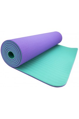 WACCES High-Density Anti-Tear Non-Slip Double-Sided YOGA MAT with Carrying Strap - Lilac/Turquoise
